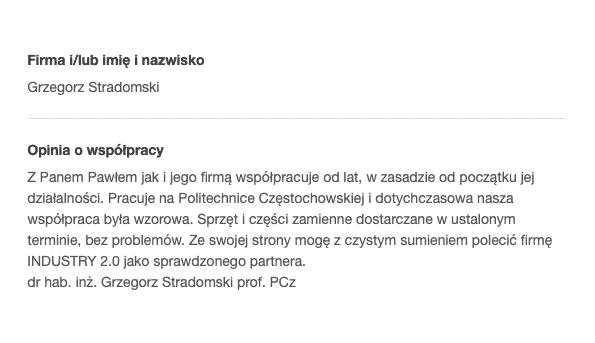 Referencje Politechnika Częstochowska