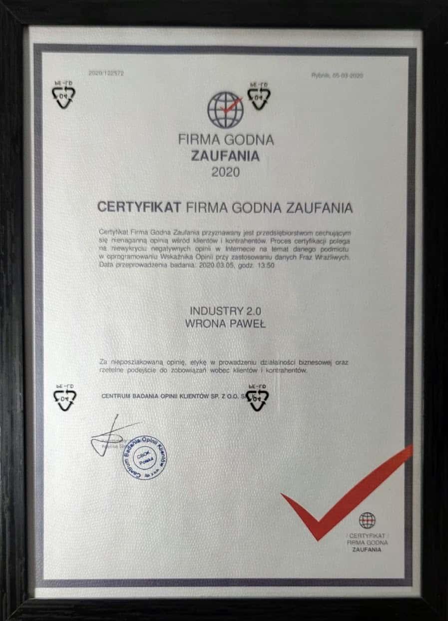 Certyfikat Firma Godna Zaufania dla INDUSTRY 2.0